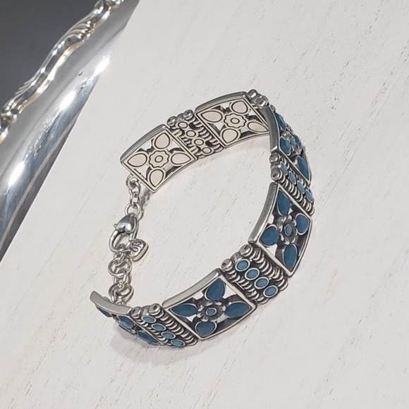 470396108b894 Brighton Blue Crystal Square Link Bracelet